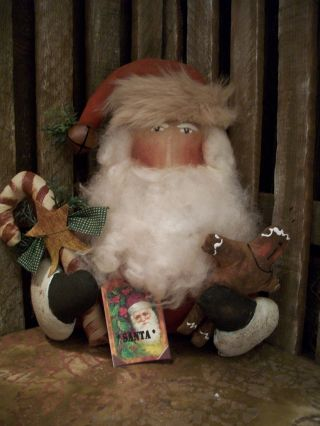 Primitive Christmas Santa Holding Doll ==cane ==star== Annie == photo