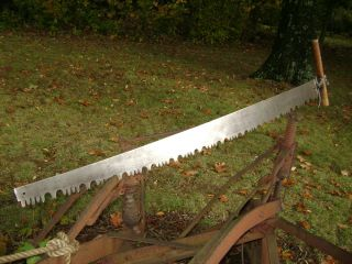 Vintage 1 Man / 2 Man Crosscut Saw Timber Logging Old Farm Tool photo