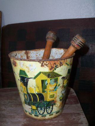 Old Childs Tin Bucket - Make Do Sewing Bobbin Gathering photo