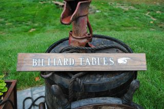 Old Billiard Tables Sign On Oak Trade Sign Pool Hall photo