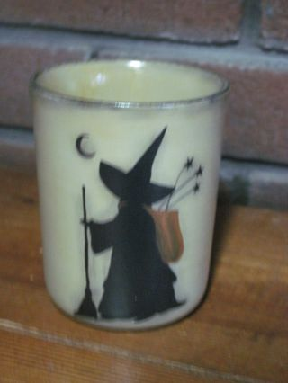 , Ooak,  Hand Painted New England Folk Art Small Decorative Witches Crock photo