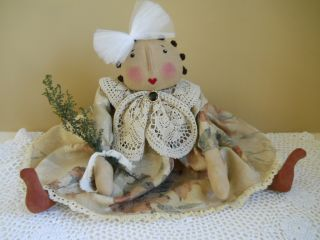 Primitive Folk Art Sweet Olde Dresser Doll photo