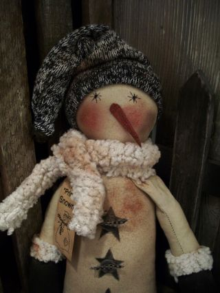Primitive 18 In.  Snowman ==big Feet Doll == Black Tweed Hat == photo