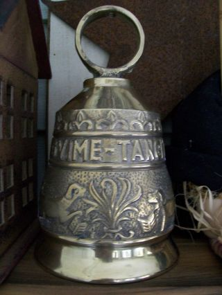 Large Heavy Brass Bell Inscribed Latin