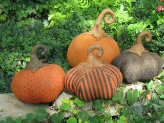 Primitive Halloween 4 Early Harvest Folk Art Grungy Pumpkins photo