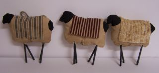 Primitive Prim Sheep Set 3 Handmade Shelf Sitter Tuck Mouse Art Chenille Art photo