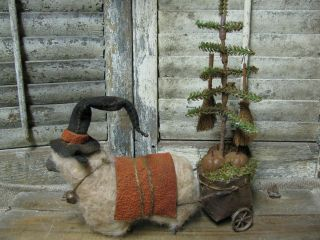 Primitive~olde Halloween Witch~sheep Cart~doll~tree~brooms~crow~tdipt photo