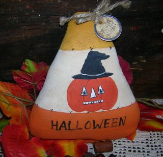 Primitive Handpainted Candy Corn Tuck Jol Fright Night Halloween Bowl Filler photo