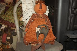 Primitive Halloween/pumpkin Head Doll photo