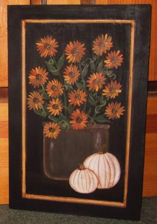 ~ Primitive ~ Hp Folk Art Crock Of Sunflowers~white Pumpkins~fall ~ Door Panel photo