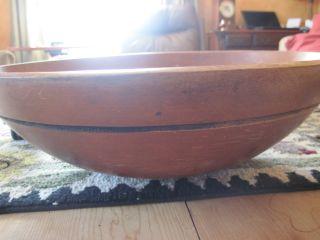 Antique Black Ash Wooden Treen Dough Bowl Incised Colar 52