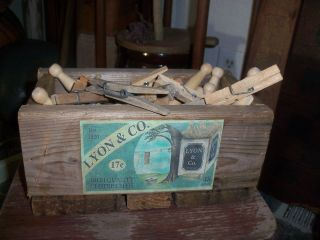 Vintage Inspired Wooden Lyon & Co Wooden Clothes Pegs Box - - Wooden Clothes Pins photo
