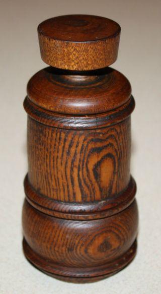 Antique Primitive Wooden Nutmeg Grinder; Old Treenware Pepper Spice Mill photo