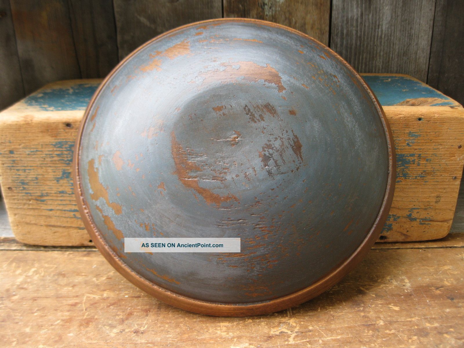 Early Antique Dough Bowl W Rim Worn Soldier Blue Milk Paint Primitives photo