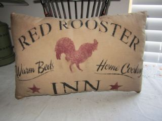 Primitive Stenciled Pillow - Red Rooster Inn - Thymeless Treasures photo