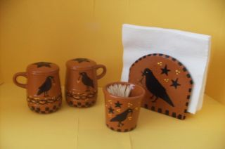 Primitive Country Farmhouse Kitchen Gathering Crows And Stars - 4 Pieces photo