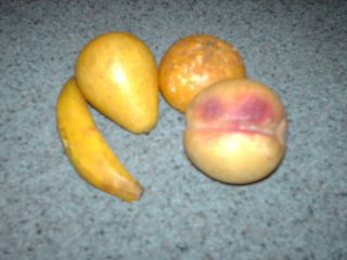 Vintage Stone Fruit Lot Miniatures Banana Orange Peach Pear Alabaster photo