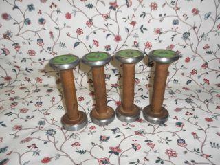 Set Of 4 Brown Wood Steel Band Bobbins (86) photo