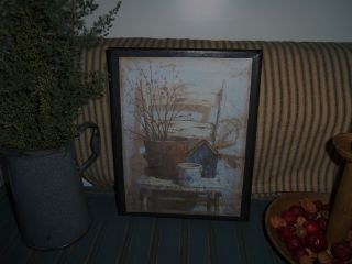 Primitive Set Of 2 5 X 7 Canvas Picture Distressed Chair Wooden Bucket Pottery photo