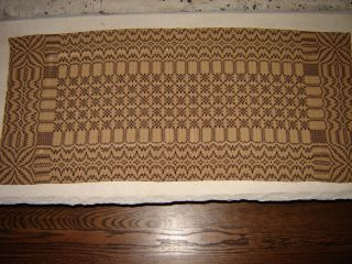 Primitive Country Woven Coverlet Brown Black Table Runner Usa Made photo
