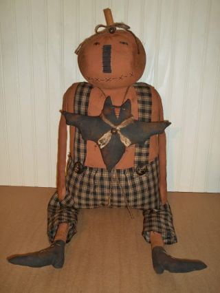 ♥ Primitive Grungy Big Jack O ' Lantern Pumpkin & Halloween Bat Doll Set ♥ photo