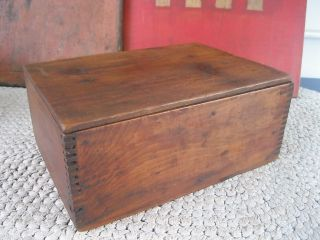 Antique Primitive Pine Wood Keepsake Storage Box,  Lid With Pin Hinges photo