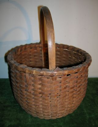 Exceptional Antique 19th C Splint Handled Round Basket Condition photo