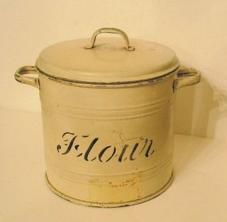 Late 1800s Antique English Flour Canister Lid Handled Cream Color Sheet Metal photo