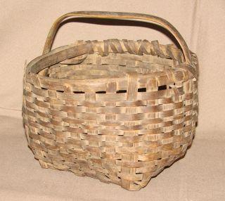 "8 ½"" Antique Splint Basket Heavy Use Very Primitive Honest Find photo"