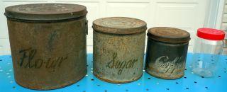 Antiique / Vintage Set Of 3 Nesting Tins W/lids photo