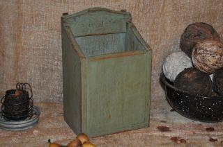 Primitive Wood Letter Box / Letter Holder Sage Green Folk Art Home Decor photo