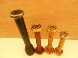 Set Of 4 Wood Spool Bobbin Candle Holder ' S (34) photo