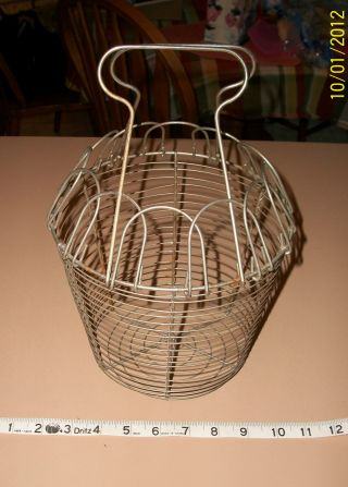 Antique Vtg Primitive 2 Handle French Folding Wire Egg Basket Country photo