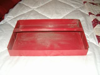 Shabby Antique Red Metal Tote Carrier - Tool Organizer - Industrial photo