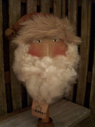 Primitive Large Santa Head =bobbin= 13 X 7 In.  ==a photo