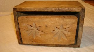 Primitive Wood Carved Butter Mold Press Flower Star Pattern Dovetail Box Handmad photo