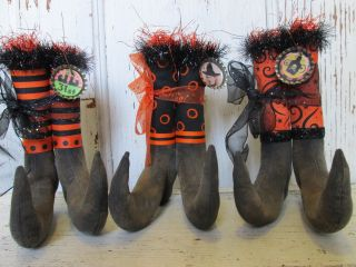 Primitive Halloween~ Witch Boot Trio~doll Accessories~ornies~sewmanystitches~ photo