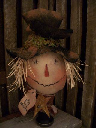 Primitive Scarecrow Head == Crow == Star == Bobbin == Doll == photo