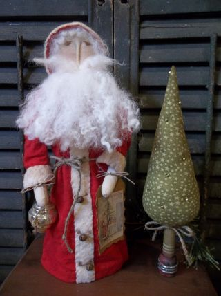 Primitive Handmade St Nicholas With Vintage Ornament And Prim Tree On Bobbin photo