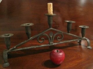 Antique 1700s Colonial Made Wrought Iron Candlesticks Candle Holders Folk Art photo