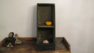 19th C Early Old Primitive Apple Dark Green Paint Wall Table Shelf photo