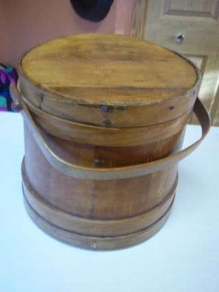 Antique Firkin Wood Box 3 Stave Hoops Natural Wood Handle 1800 ' S Great Shape photo