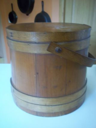Antique Firkin Wood Box 4 Stave Hoops Wood Handle 1800 ' S Natural Wood Finish photo