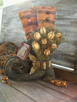 Primitive Halloween Witch Boot ' S Decor~sweet Annie~shelf Sitter Display photo
