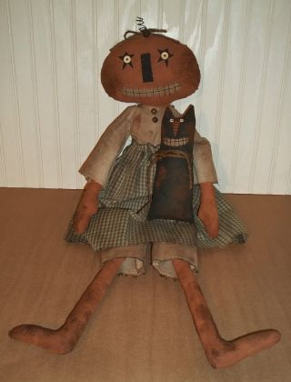 ♥ Primitive Grungy Pricilla The Grinning Pumpkin Lady Doll & Her Smiling Cat ♥ photo