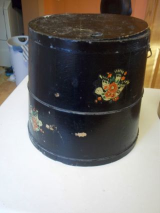 Antique Firkin Wood Box Stave And Hoop Black Bail Handle 1800 ' S Great Shape photo