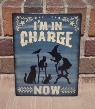 Prim Style Halloween Little Witch Sign I ' M In Charge Now Cat,  Dog,  Mouse Crow photo
