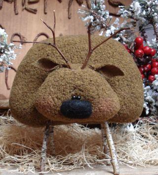 Primitive Christmas Reindeer Doll Shelf Sitter Bowl Fillers Ornies photo