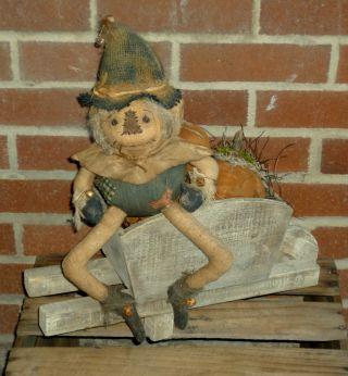 Primitive Scarecrow Doll W/ Wood Wagon & Pumpkin Harvest ~ Prim Gathering Lot photo