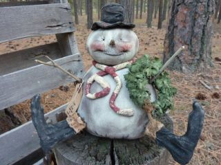 Primitive Folk Art Doll Snowman Winter Christmas Holiday And Always photo